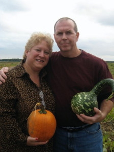 Michele and Joe picking pumpkins on Long Island, NY