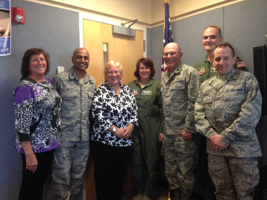 Michele with the 106th Squadron of the New York State Air National Guard medical group and flight surgeons after an ACLS class