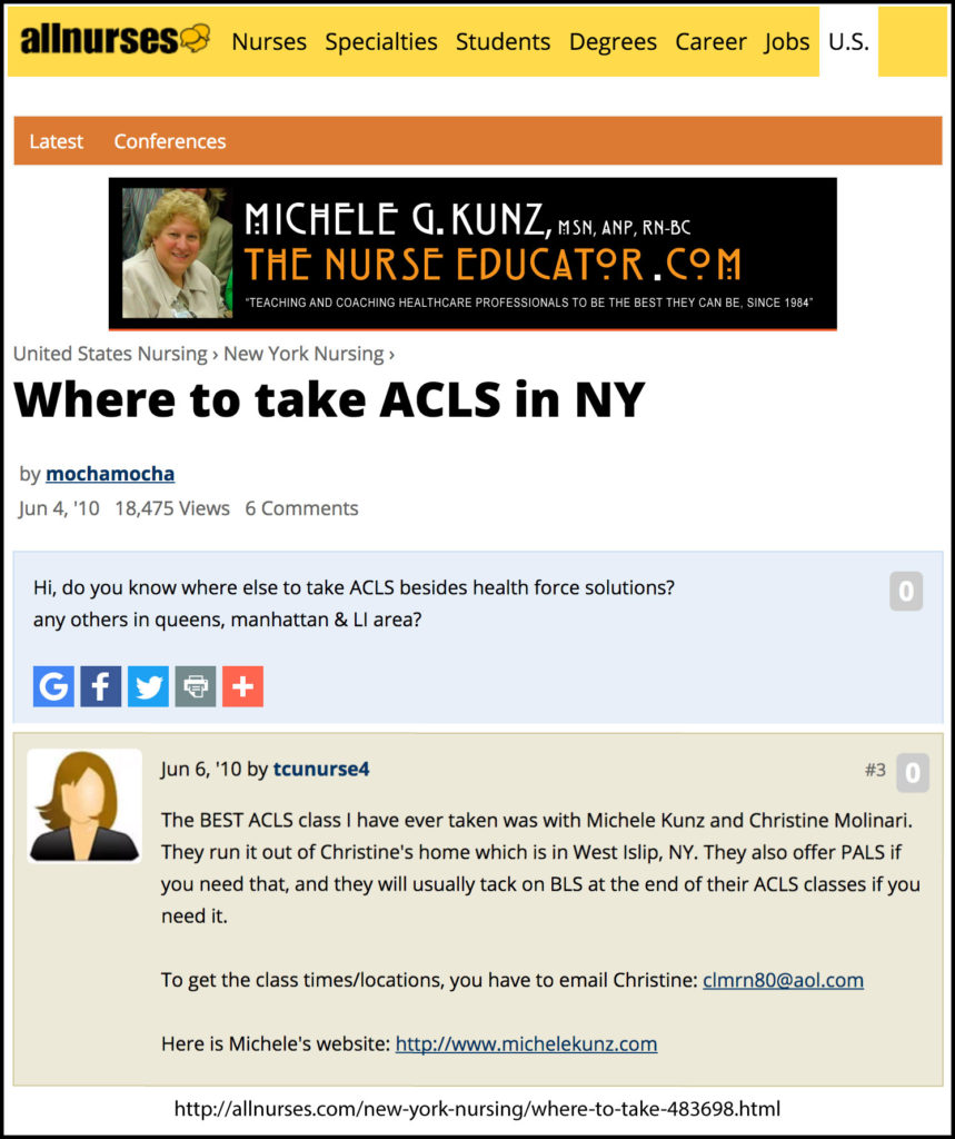 Where to take ACLS in New York