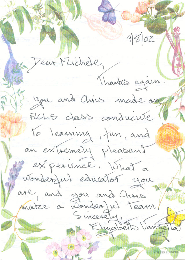 Thank you note from Elizabeth, one of Michele's students.