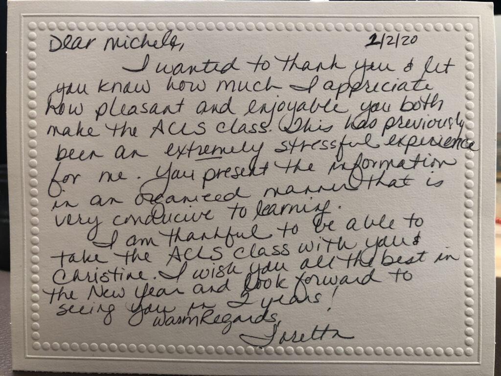 Thank you note from Loretta Braun, January 2020
