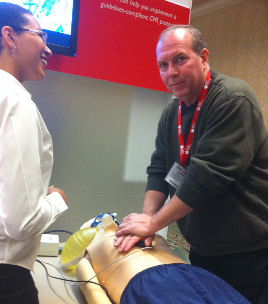Joe Trying Out The Newest In Manikin Technology at the AACN-NTI Conference